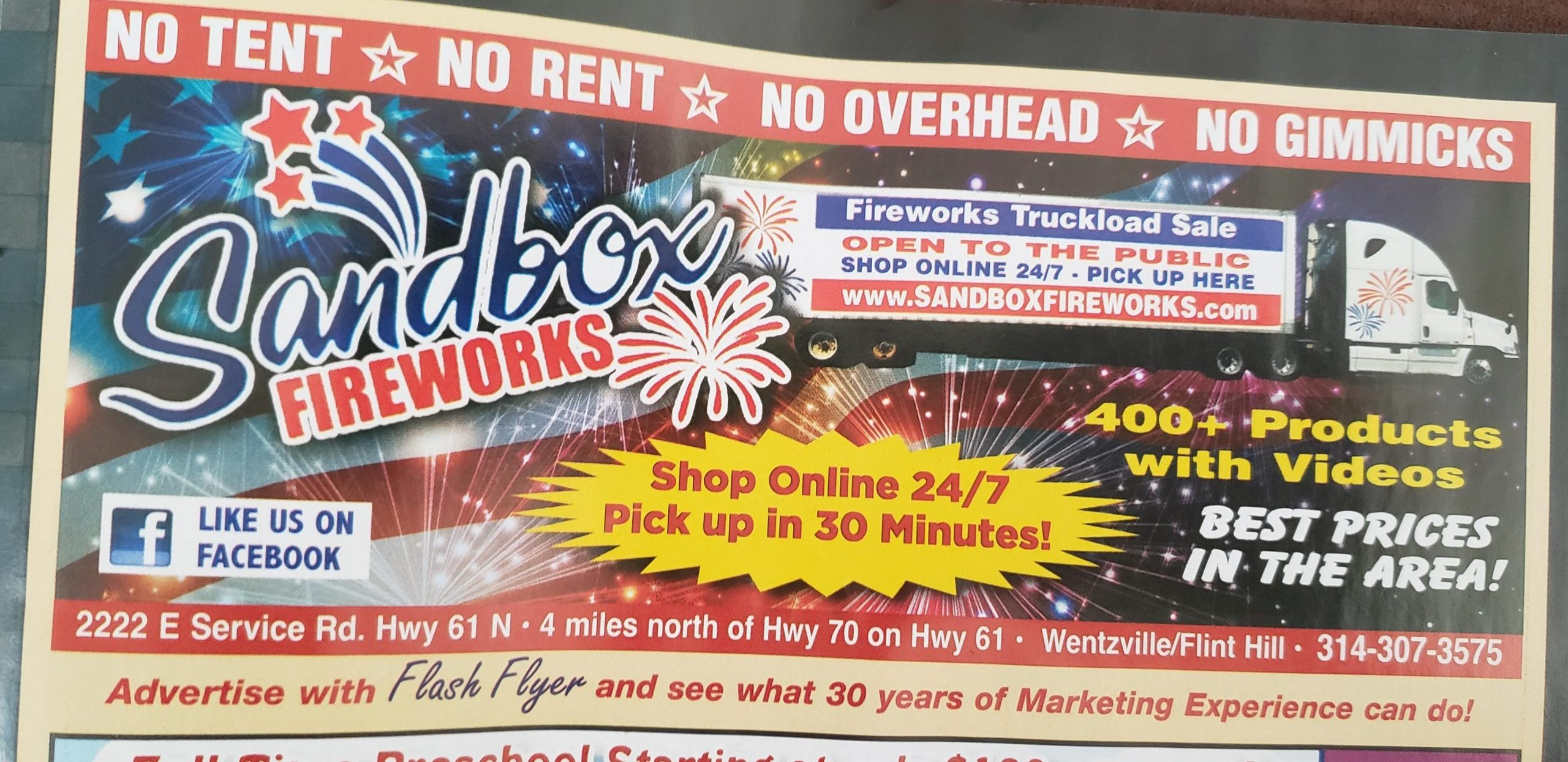 In need of Fireworks for the upcoming 4th of July Holiday, Sandbox Fireworks right here in Flint Hill at SANDBOXFIREWORKS.com