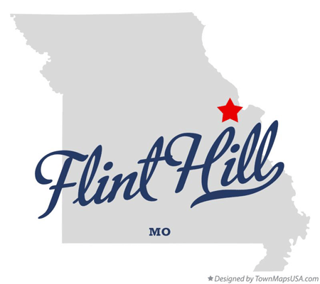a simple map that shows the location of Flint Hill in Missouri